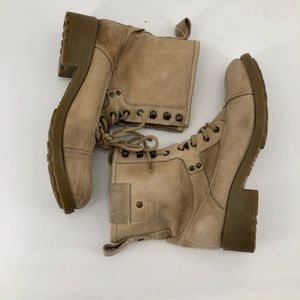 STEVE MADDEN TAUPE COMBAT BOOT LEATHER WOMEN 11
